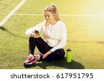 young beautiful blonde hair... | Shutterstock . vector #617951795