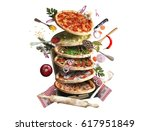 pizza with different tastes... | Shutterstock . vector #617951849