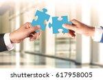 business teamwork concept ... | Shutterstock . vector #617958005