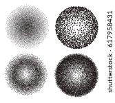 dotwork circle banners. noisy... | Shutterstock .eps vector #617958431