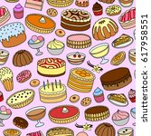 seamless pattern with different ... | Shutterstock .eps vector #617958551