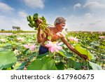 old man thai farmer grow lotus... | Shutterstock . vector #617960675