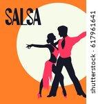 salsa poster. elegant couple... | Shutterstock .eps vector #617961641