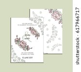 vector invitation with flowers... | Shutterstock .eps vector #617966717