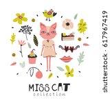 set of miss cat elements... | Shutterstock .eps vector #617967419