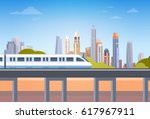subway over city skyscraper... | Shutterstock .eps vector #617967911