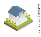 isometric flat bank vector with ... | Shutterstock .eps vector #617968325