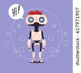 chat bot  robot virtual... | Shutterstock .eps vector #617971907