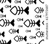 fish bone or skeleton seamless... | Shutterstock .eps vector #617972687