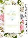 vector botanical vertical frame ... | Shutterstock .eps vector #617974775