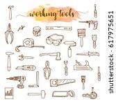 set of working tools  doodle... | Shutterstock .eps vector #617975651
