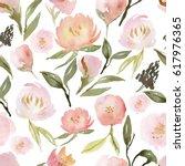 watercolor flower seamless... | Shutterstock . vector #617976365