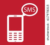 mobile message icon on red...