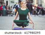 blonde smiling pretty yoga... | Shutterstock . vector #617980295