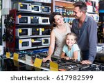 cheerful russian  family with... | Shutterstock . vector #617982599