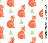 cute fox with trees. vector... | Shutterstock .eps vector #617986265