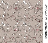 seamless pattern with cats and... | Shutterstock .eps vector #617990369
