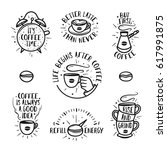 hand drawn doodle style coffee... | Shutterstock .eps vector #617991875