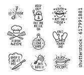 hand drawn kitchen quotes set.... | Shutterstock .eps vector #617991881