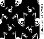 skull rider seamless pattern...   Shutterstock .eps vector #617994881