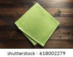hessian burlap napkin on wooden ... | Shutterstock . vector #618002279