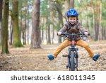 happy kid boy of 3 or 5 years... | Shutterstock . vector #618011345