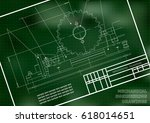 mechanical drawings on a  white ... | Shutterstock .eps vector #618014651