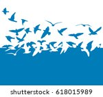 Stock vector flying birds in the sky vector 618015989