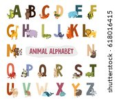 english alphabet with animals.... | Shutterstock . vector #618016415
