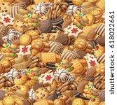 various cookies seamless... | Shutterstock .eps vector #618022661