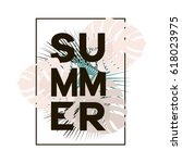 summer text in black frame with ... | Shutterstock .eps vector #618023975