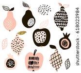 creative fruits set. lemon ... | Shutterstock .eps vector #618023984