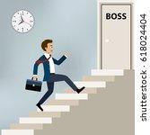businessman running upstairs to ...   Shutterstock .eps vector #618024404
