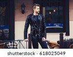 male fashion model posing in...   Shutterstock . vector #618025049