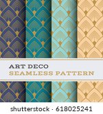 art deco seamless pattern with... | Shutterstock .eps vector #618025241