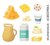 fresh organic milk products set ... | Shutterstock .eps vector #618029861