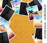 a pile of photographs pinned to ... | Shutterstock .eps vector #618030635