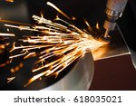 drill with diamond tipped... | Shutterstock . vector #618035021