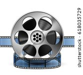 reel of film strip 3d ... | Shutterstock .eps vector #618035729