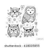 owls isolated. cute boho birds. ... | Shutterstock .eps vector #618035855
