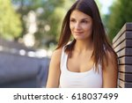 thoughtful attractive young... | Shutterstock . vector #618037499