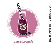 blackcurrant smoothie. cute... | Shutterstock .eps vector #618039389