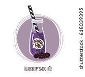 blackberry smoothie. cute... | Shutterstock .eps vector #618039395
