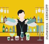 barman show. night life in bar. ... | Shutterstock .eps vector #618041099