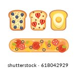 set toasts and sandwich... | Shutterstock .eps vector #618042929