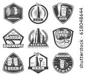 monochrome vintage brewery... | Shutterstock .eps vector #618048644