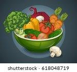 organic vegetables plate... | Shutterstock .eps vector #618048719