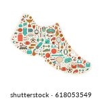 sneakers made of doodles sport... | Shutterstock .eps vector #618053549