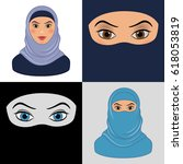 set of  arabic muslim woman.... | Shutterstock . vector #618053819