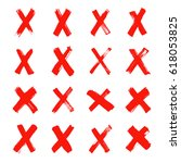 set of different x icons and... | Shutterstock . vector #618053825